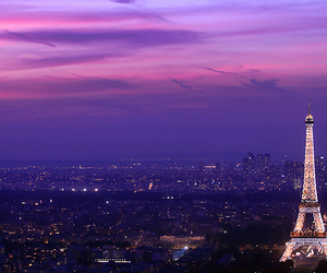 city, eiffel tower, and night image