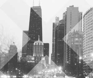 black and white, chicago, and buildings image