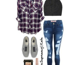 flannel shirt, vans, and school outfit image
