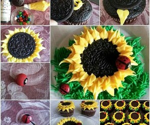 sunflower, cupcake, and oreo image