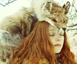 girl, fox, and snow image