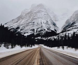 road, mountain, and snow image