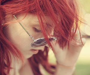 girl, sunglasses, and red hair image