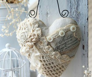 heart, soft blue, and shabby image