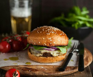food styling, hamburger, and tasty image