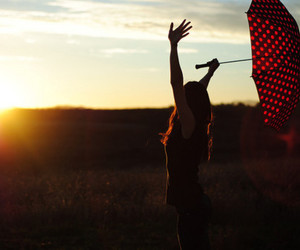 girl, umbrella, and sun image