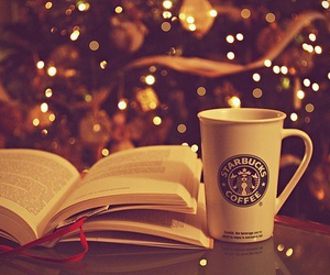 books, starbucks, and winter image