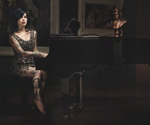 kat von d, piano, and tattoo image