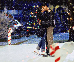 love, snow, and kiss image