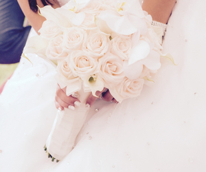 bouquet, orchid, and bride image