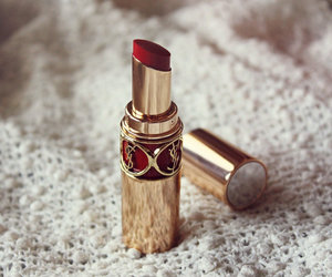 red, lipstick, and YSL image