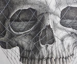 skull, drawing, and grey image