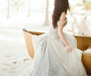 dress, boat, and wedding dress image