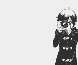 anime, camera, and black and white image