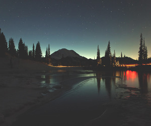 night, stars, and landscape image
