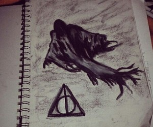 art, charcoal, and deathly hallows image