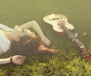 girl, guitar, and flowers image