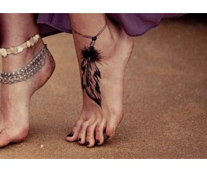 tattoo, feather, and feet image