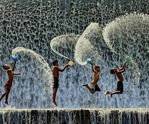 water, child, and kids image