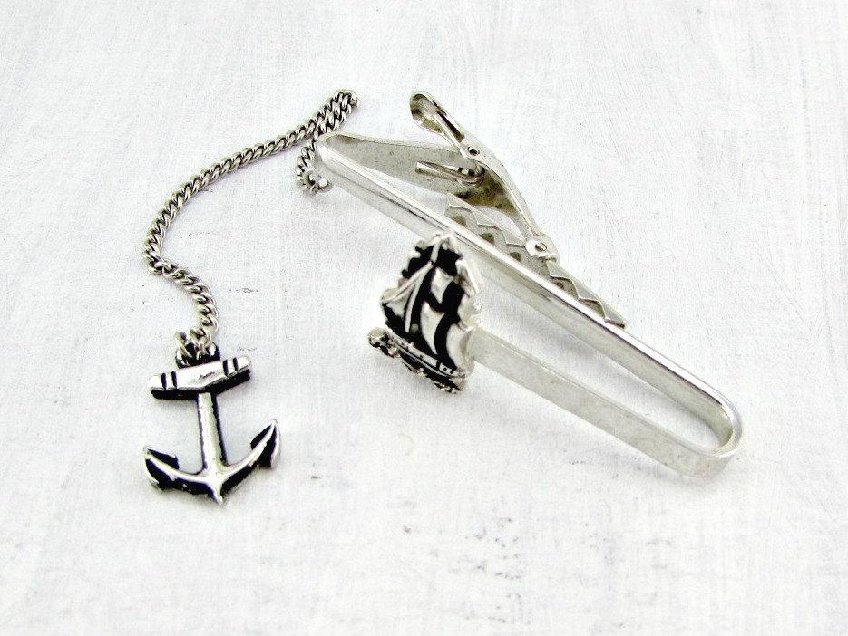 vintage tie clip bar, silver tie clip bar, and nautical tie clip bar image