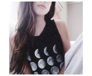 girl, moon, and black image