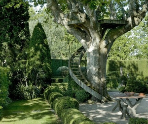 garden, green, and tree house image