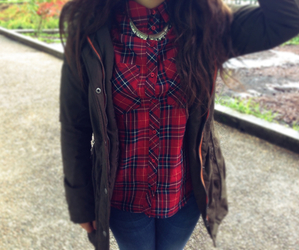 outfit, fashion, and flannel image