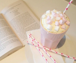 pink, book, and drink image
