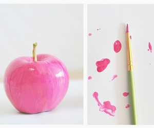 pink, apple, and paint image