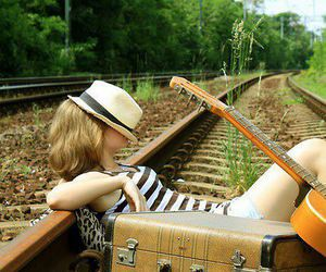 girl, guitar, and hat image