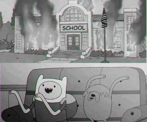 school, adventure time, and fire image