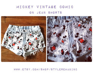 cute, jeans, and mickey mouse image