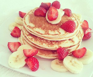 strawberry, pancakes, and food image