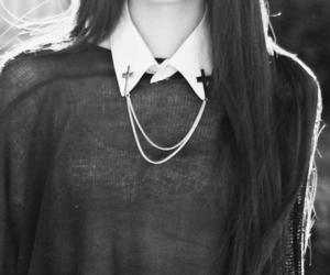fashion, girl, and cross image