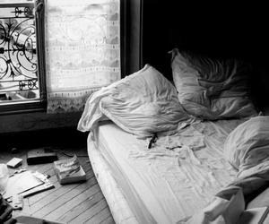 bed, black and white, and bedroom image