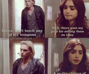 jace wayland, clary fray, and funny image