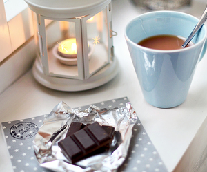 candle, chocolate, and winter image