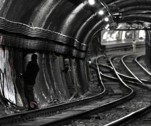 graffiti, railway, and tunnel image