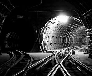railway, tunnel, and tracks image
