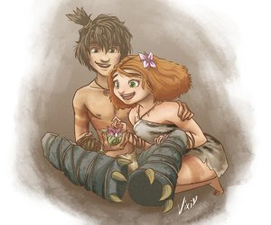 the croods, guy, and eep image