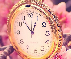 time, clock, and flowers image