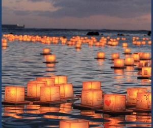 light, lantern, and sea image