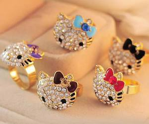 ring, hello kitty, and gold image
