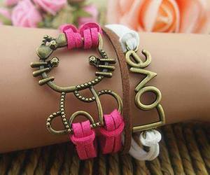 bracelet, love, and hello kitty image