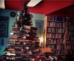 books, christmas, and tree image
