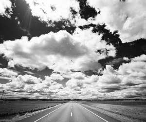 black and white, clouds, and road image