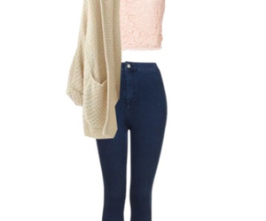 outfit, Polyvore, and high waisted jeans image