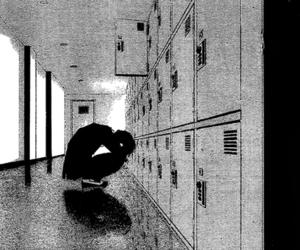 manga, monochrome, and sad image