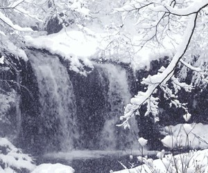 snow, winter, and waterfall image