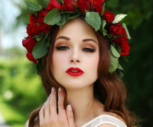 girl, beautiful, and red image